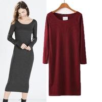 2014 winter fashion rib knitting long-sleeve pullover medium-long one-piece dress femaleslimlong-sleeve slim hip skirt 14120902