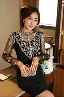 Drop shipping 2014 Women Crochet/transparent Blouse Lace Shirt Women Korean elegant Embroidery blusa renda 2014