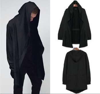 Оригинальный дизайн мужская одежда толстовка весна осень капюшоном мужчин капюшоном кардиган мантиссы черный плащ верхняя одежда негабаритных