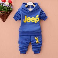 Children's clothing plus velvet thickening child set male female child sweatshirt 2 piece set boy thickening sports set