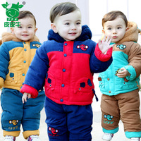 Male child wadded jacket trousers set child winter cotton-padded jacket outerwear baby boy thickening thermal style