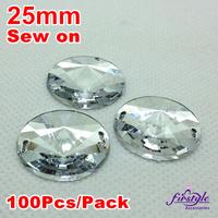 25MM 100PCS/LOT Crystal Clear Color Superior Acrylic Sew On Round Rivoli Shape Flatback Stone