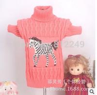 Children's sweaters little zebra cherry girl stretch sweater child upset turtleneck sweater wholesale tong