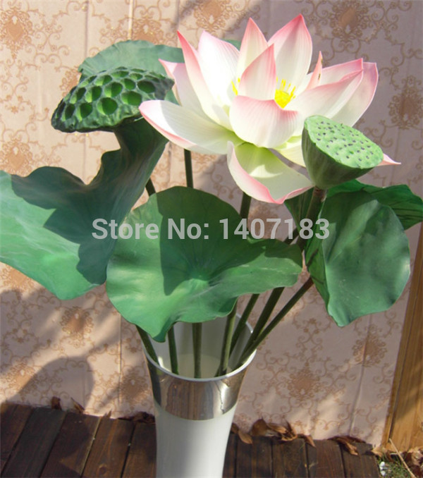 High imitation of single PU plastic handle three kinds of color emulation fake lotus flower(China (Mainland))