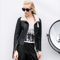 Leather Jacket Women Leather & Suede Lamb Wool Jaqueta Couro Feminina Black Natural Color Solid Zipper Leather & Suede Lamb Wool