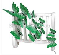 New 12Pcs/Lot Vinyl 3D Green Butterflies For Wall Art Decal Removable Home Decoration DIY Beautiful Wall Stciker Home Decor