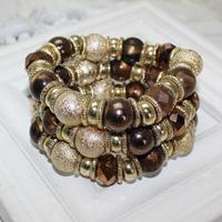 (Min order 6$) Pulseras vintagemetal alloy pearl bangle punk bracelet   (141209)