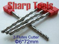 6x72MM 3 Flute Mill Spiral Cutters Engraver CNC Wooden Bit Set, TOP Tungsten Steel Carbide End Mill Cutter for CNC Wood Router