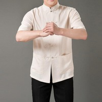 Solid color tang suit cool male comfortable linen tang suit summer short-sleeve chinese style clothes