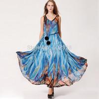 New European 2015 Summer Women O-Neck Print Chiffon Sleeveless Big Swing Maxi Dress Casual Bohemian Vestidos YT1072