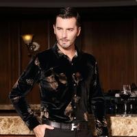 2014 men's autumn clothing shirt long-sleeve slim fashion print gold velvet shirt male