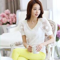 Korean women's V-neck short-sleeved T-shirt beaded lace chiffon shirt bottoming shirt Slim was thin fresh t-shirt 120904