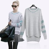 L -5XL Plus Size XXXXL Good 2015 Spring Autumn Women Sweater ladies European Style Loose Casual Asymmetric Knitted Pullover