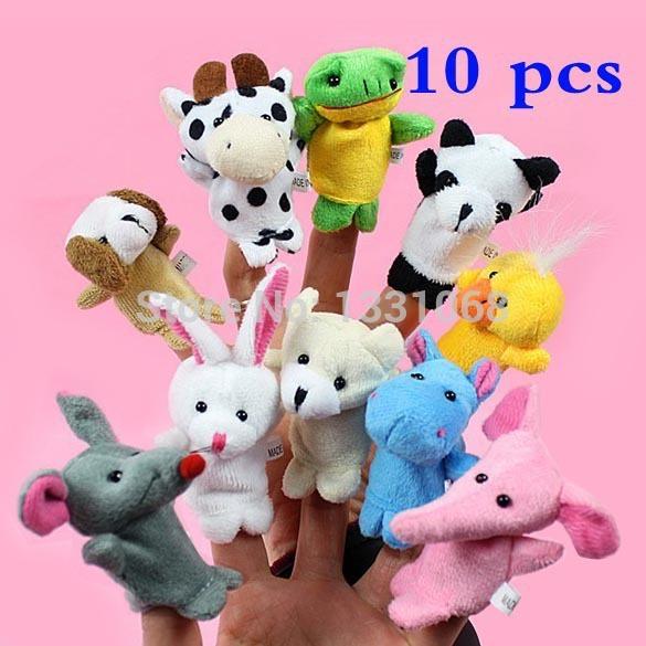 BS#S Hot sale Cartoon Animal Finger Puppet Plush Toys Children Favor Dolls(China (Mainland))
