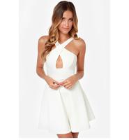 Women new sexy strapless halter cross chest Halter Dress