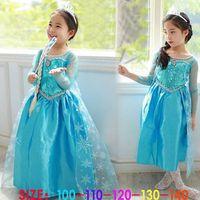 Girls Frozen Princess Anna Elsa Cosplay Costume Kid's Party Dress Dresses 78573-78577