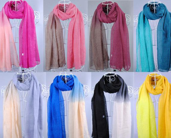 2014 fashion warm scarf women hot sale gradual color voile long Scarf shawl muslim hijab(China (Mainland))