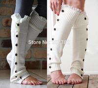 New Womens Crochet Lace Trim Twist Button Down Braid Leg Knit Warmers Boot Socks Knee High