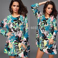 European New 2014 Autumn Women O-Neck Loose Flower Print Long Sleeve Mini Dress Casual Bohemian Vestidos Large Size YT1074