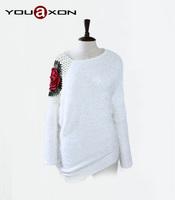 1608 YouAxon Plus Size Batwing Long Sleeve Crocheted Desigual Pullover Mohair Oversized asymmetrical sweaterWomen a+ Sweaters