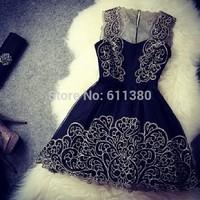 Vestidos de fiesta, 2014 Women fashion white dress, black cute lace dress, original dress free shipping