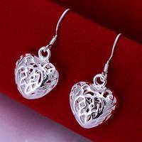 Fast/Free Shipping 925 Sterling Silver Jewelry Fashion Hollow Heart Drop Earrings Women Gift Trendy Brincos Earring E19