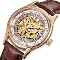 2015 New Arrival Original Brand Luxury Men's Fashion Hollow Automatic Mechanical Watch Waterproof Genuine Leather Watch Hot Sale