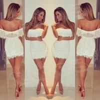New 2014 Sexy Nightclub Bandage Dress White Mini Clubwear Dress Casual Lace Slim Summer Sexy Women's Party Evening Vestido Dress