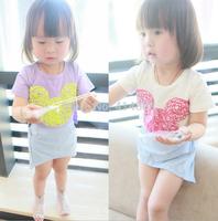 Joy Chang's new 12M-3A 5pcs/lot kids short sleeve cartoon Dress, girls' Dresses 2 colors