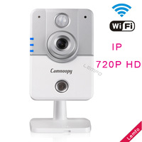 Wifi Wireless Network Cube Camera 2-way 720P HD P2P Internet Peneration IP Camera with Infrared night Vision 3D Voise Reduction