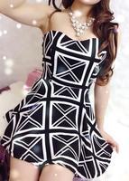 Chest wrapped sexy nightclub ladies irregular hem stitching Tee Dress