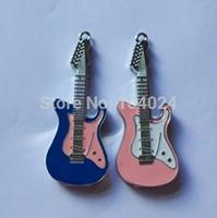Jewelry crystal pen drive pink blue electric guitar model USB flash drive 2.0 Pen memory U disk 4GB 8GB 16GB 32GB