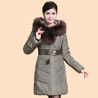 2014 Winter Thicken Warm Woman Down jacket Coat Parkas Outerweat Luxury Hooded Raccoon Fur collar Mid Long Cold Plus Size 4XXXXL
