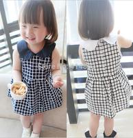 Joy Chang's new 12M-3A 5pcs/lot kids sleeveless checked  Dress, girls' Dresses quality clothing 2 colors
