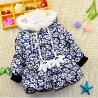 1-5Y 2014 winter little girls warm cotton-padded flower printed jacket coat X14009