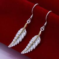 Fast/Free Shipping 925 Sterling Silver Jewelry Fashion Golden Leaf Dangle Earrings Women Gift Trendy Brincos Earring E38