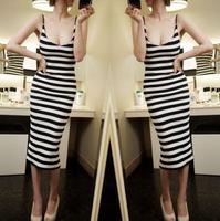 Striped Dress new women sexy nightclub Slim waist dress ladies
