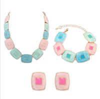Fashion women's crystal alloy jewelry sets choker necklace earrings plastic geometric block necklace earrings for women