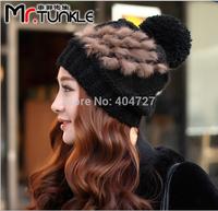 2pcs/Lot 2014 Korean Lady Hats Fashion Rabbit Fur Decoration Woolen Yarn Tweed Inside Women Warm Caps Multi-Color Free Shipping