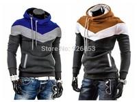 New 2014 Autumn Winter Men Fashion Coat Slim Fit Hoodies Sports Hit Color Jacket Casual Sweatshirt Size L XL XXL Hot Sale