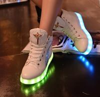 Autumn New Casual LED Light Shoes PU Leather Sneakers Women USB Luminous Footwear Women Fashion Shoes Free Shipping.