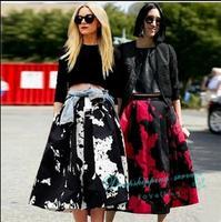 Retro Printing Waist Tutu Skirt Long Skirt Casual Temperament Woman Umbrella Skirt Free Shipping