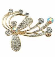 Beautiful Crystal Rhinestone Flower Brooch
