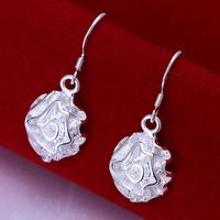 Fast/Free Shipping Wholesale 925 Sterling Silver Jewelry Rose Flower Drop Earrings Women Gift Trendy Brincos Earring E66