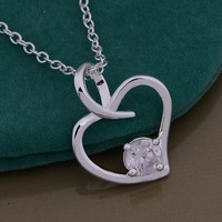 Christmas Gift 925 Silver Crystal Heart Necklaces & Pendants,Fashion 925 Sterling Silver Necklace,Free Shipping,GYAN1008