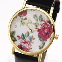 New 2015 Fashion Geneva wristwatches Women Vintage Flower lady wrist quartz casual watch pu leather strap Gift Relogio Hot Sell