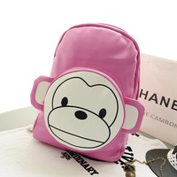 PU Leather Cute Cartoon Monkey Preppy Women School Backpacks Casual Women Bolsas Mochilas Femininas School Bags For Teenagers