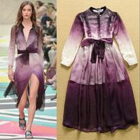 Best Quality New Europe Fashion 2015 Spring Women Gradient Dye Print Silk Chiffon Long Sleeve Dress Purple Blue One Piece Dress