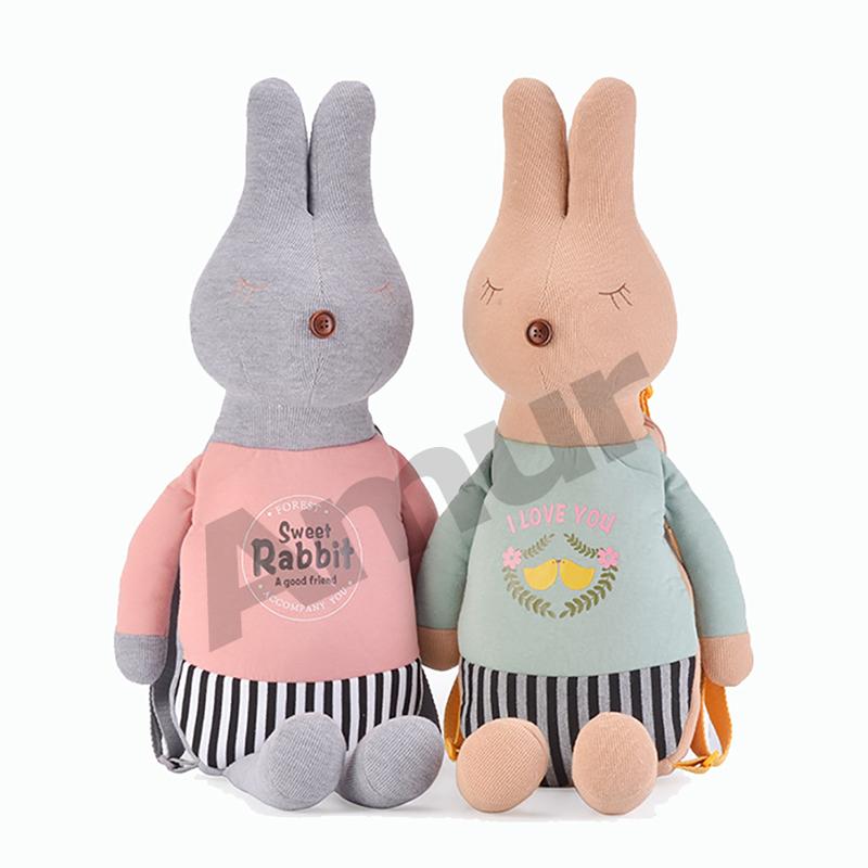Amur kids children bags animal cartoon cotton fabric backpack short plush toy rabbit(China (Mainland))
