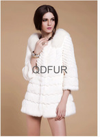 Lady Natural Rabbit Fur Coat Fox Fur Collar 3/4 Sleeve Winter Jacket Women Fur Outerwear Coats Lady Apparel QD80190